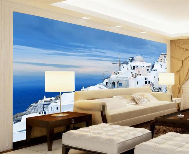 3D Wallpaper Custom HD Photo Room Mural White Building Blue Sky India Sofa TV