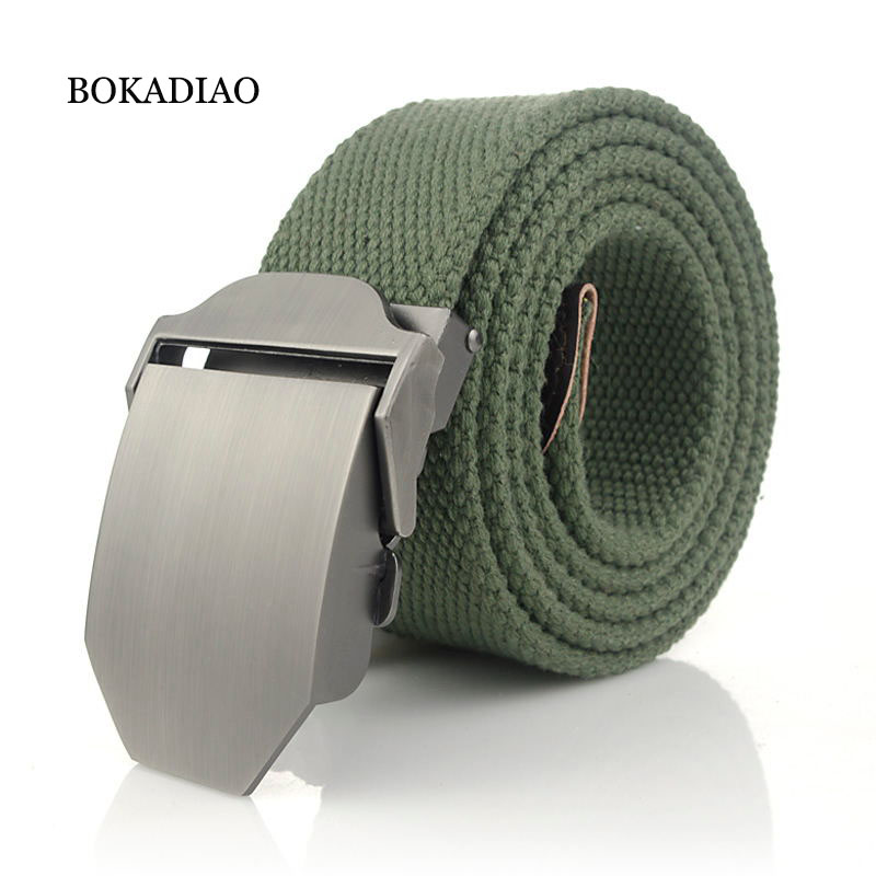 BOKADIAO Men&Women Military Canvas Belt Luxury Glossy Metal Buckle Jeans Belt Army Tactical Belts For Women Waistband Strap Male