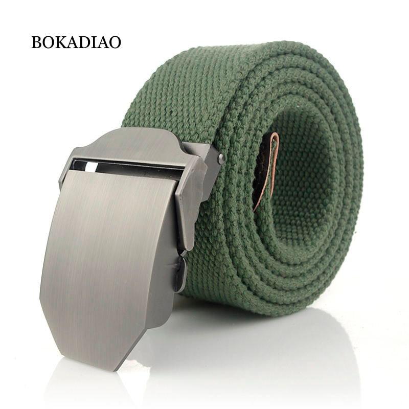 BOKADIAO Men&Women Military Canvas Belt Luxury Glossy Metal Buckle Jeans Belt Army Tactical Belts For Women Waistband Strap Male