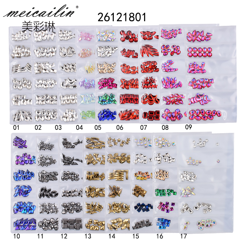 New 60pcs Multi-size Crystal Glass Colorful Nail Stones Gems DIY Mixed Shape Gold Pink Nail Art Rhinestones 3D Decorations Set