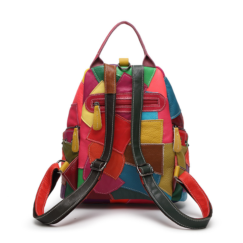 Image 3 - Women Genuine Leather Backpack With Soft Handle Designer High  Quality Sheep Skin Patchwork Rivet Backpacks For Travel 2colorsbackpack  withgenuine leather backpackdesigner leather backpack