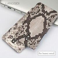 Wangcangli Phone Case For Huawei Nova 2 Case Natural Python Skin Genuine Leather Back Cover For
