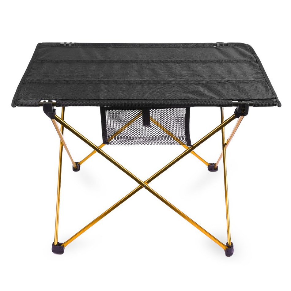 portable camping table outdoor golden aluminium alloy. Black Bedroom Furniture Sets. Home Design Ideas
