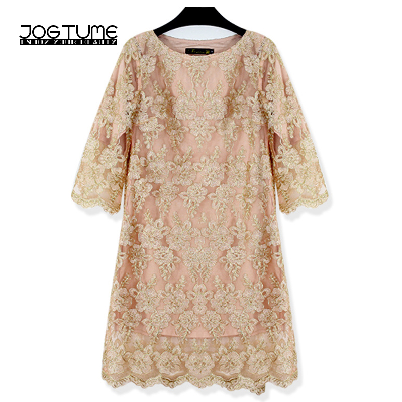 JOGTUME Gold OL Mini Dress 2017 Spring Autumn Womens Embroidery Lace Dress Ladies Fashion Elegant Pencil Dress Plus Size 4XL 5XL