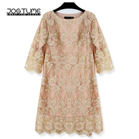 JOGTUME Gold OL Mini Dress 2017 Spring Autumn Womens Embroidery Lace Dress Ladies Fashion Elegant Pencil Dress Plus Size 4XL 5XL