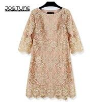 JOGTUME Gold OL Mini Dress 2017 Spring Autumn Womens Embroidery Lace Dress Ladies Fashion Elegant Pencil