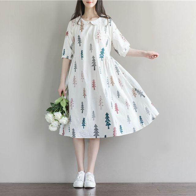 فستان حمل ملابس حمل فساتين وصلت حديثًا للنساء الحوامل طوق دمية مطبوع من القطن والكتان غير رسمي