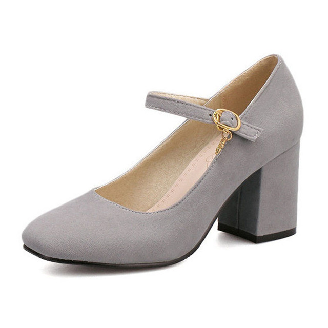 Mary Janes Women Square Toe High Heels Ladies Dress Pumps Buckle Med Thick Heels Spring Autumn Nubuck Leather OL Shoes Woman B29