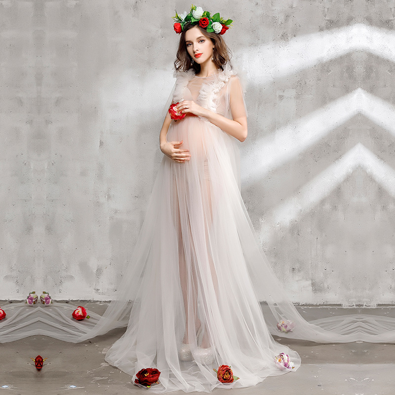 Elegant Pregnant Women Photoshoot Fancy Voile Maternity Gown Maxi Long Lace Dress Photography Props Studio Clothing Size L,XL