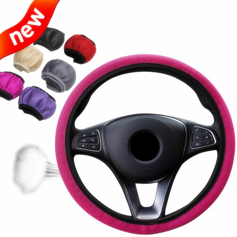 6 Clolors Skidproof Durable Car Steering Wheel Cover Sandwich Fabric Handmade Auto Covers Fit For Most Cars Breathability