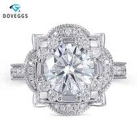 DovEggs роскошные Твердые 14 к 585 Белое золото центр 3ct 9 мм F цвет обручальное кольцо для женщин Свадебные двойной Halo Кольцо