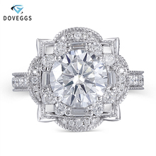 DovEggs Luxury Solid 14K 585 White Gold Center 3ct 9mm F Color Moissanite Engagement Ring for Women Wedding Double Halo