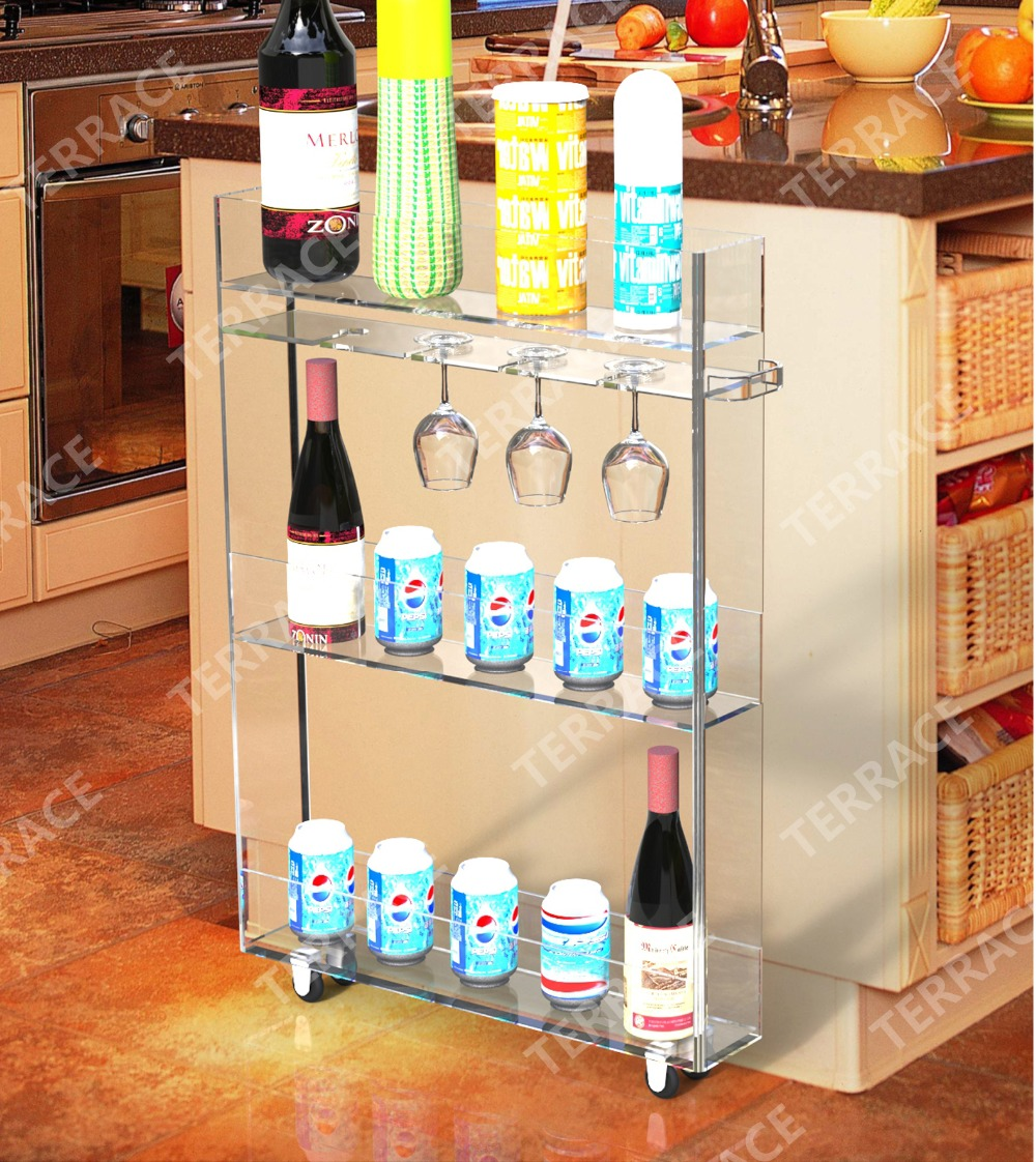 Купить с кэшбэком Rolling acrylic kitchen storage rack with wine glass holder,Lucite bathroom shelf with handles