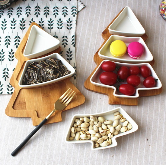 Цзиндэчжэнь керамическая посуда бамбуковая Деревянная Рождественская елка поднос для снэков Фруктовая тарелка еда на завтрак пластина ку