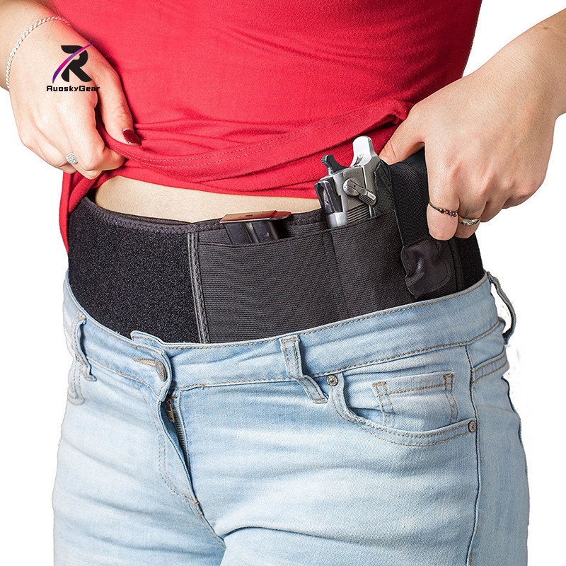 Belly Band Waist Pistol Holster Left hand Women Nylon  Holsters Concealed Tactical Carry Gun Draw Pistols Magazine for Hunting|belly band holster|band holster|concealed holster - title=