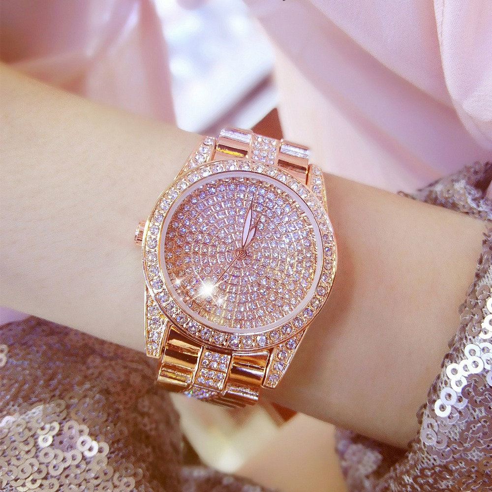 Famous Brand Women Rose Gold Diamond Watch Stylish Men Watch Lady Luxury Sparkly Crystal Gold Shinning Diomand Rhinestone Bangle spring big sale brand bs luxury 14k gold diamond women watch lady gold siliver dress watch rhinestone bangle bracelet