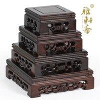 Я Чжай красное дерево, резьба нефрита печать деревянные украшения позитивных камень черный палисандр деревянный блок