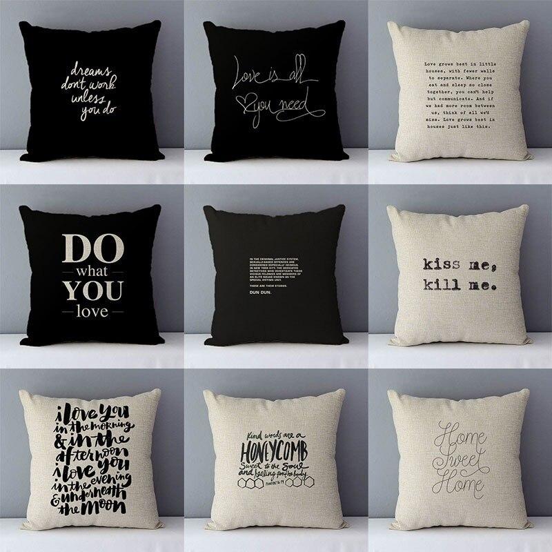 Qualidade casa decorativa capa de almofada 45x45cm algodão linho sofá capa de almofada, fazer o que você ama impresso frase criativa QX-D5