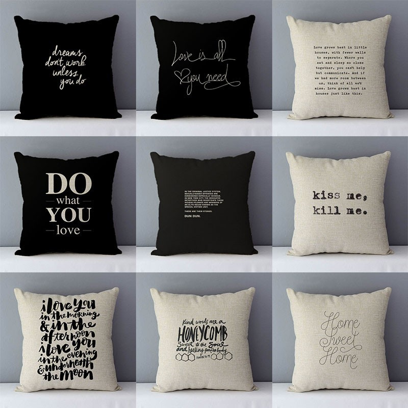 Quality Home Decorative Pillow Cover 45x45cm Cotton Linen Couch Cushion Cover, DO What You Love Printed Creative Phrase QX-D5