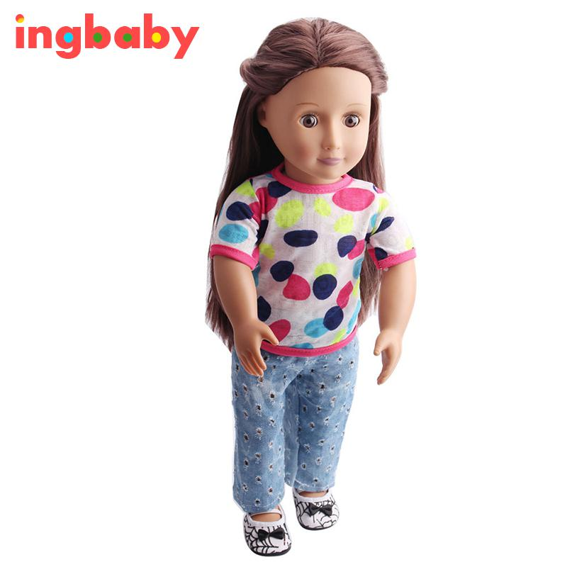 2pcs/set 18 Inch American Girl Doll Suits Girl Dress Up Fashion ...