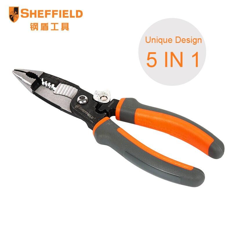 SHEFFIELD 8 pouces 5-en-1 Multifonctionnel pince Électricien électrique aiguille nez pinces à Dénuder Sertir 5 en 1 pince