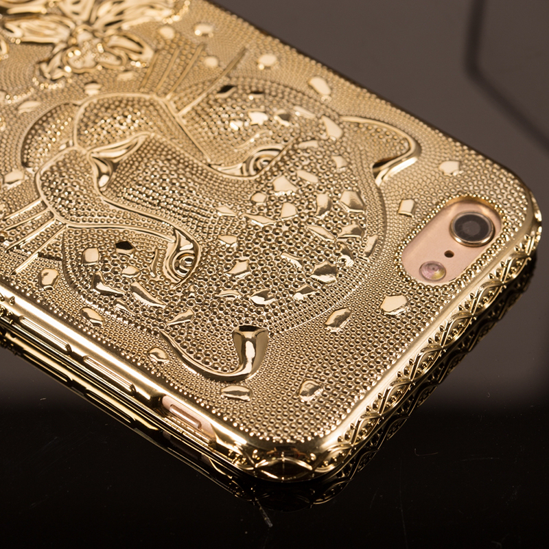 3D Gold Cheetah Phone Case For iPhone 6 6s 6 Plus Luxury Plating Silicone Cover Case For iPhone 6 6 s 6s Plus Capinha Coque