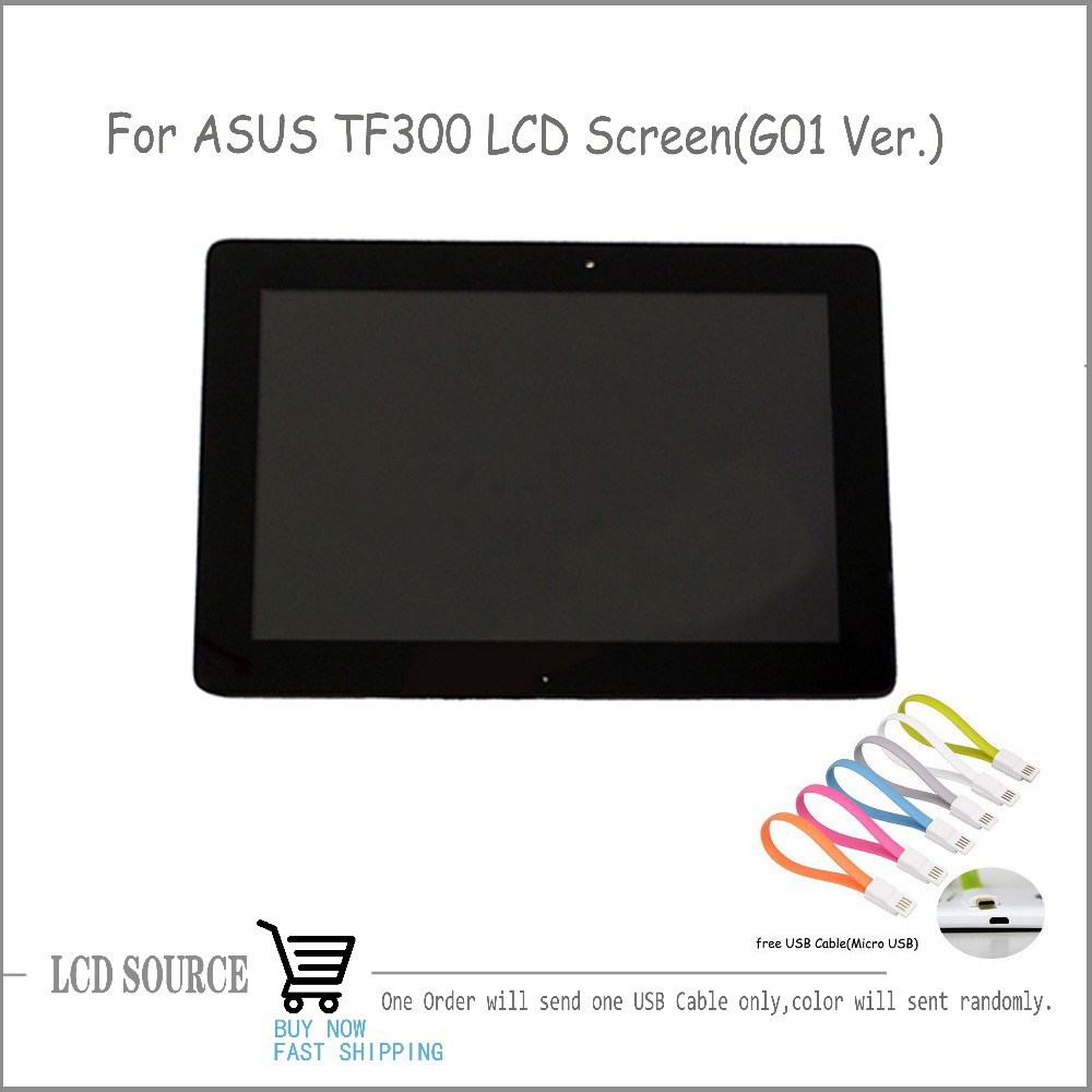 Original 10.1 For ASUS TF300 TF300T LCD Display Touch Digitizer Sensors G01 Version For ASUS LCD Screen Black With Frame
