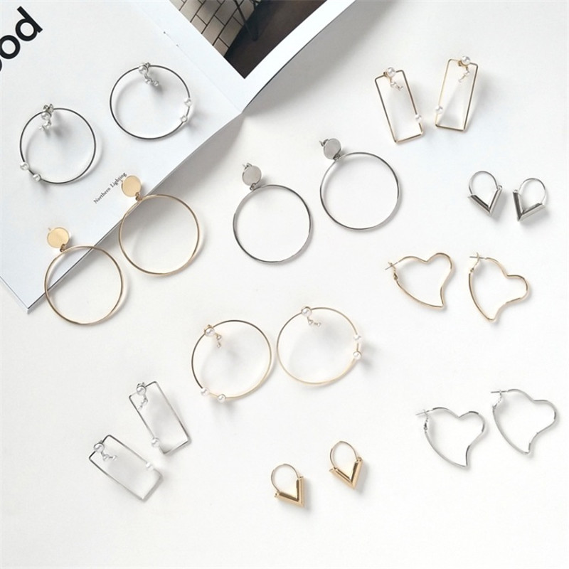 Detail Feedback Questions about XEDZ Personality Japan And South Korea  Simple Irregular Round Square Earrings Wild Heart Shaped Fashion Ladies Ear  Clip ... 681a8198d04a