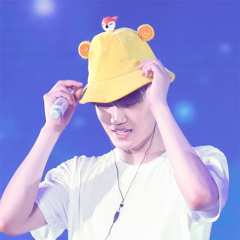 WXCTEAM Exo Music Concert Kai Hat Cute with Fox Lollipop Yellow Japanese Soft Parent-Kid Fisherman Sun Hat