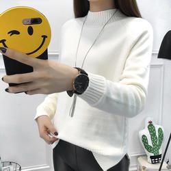 2018 Новый Для женщин рубашки свободные Вязание длинный рукав водолазка расстроен краткие пункте пуловеры студентов блузка рубашка