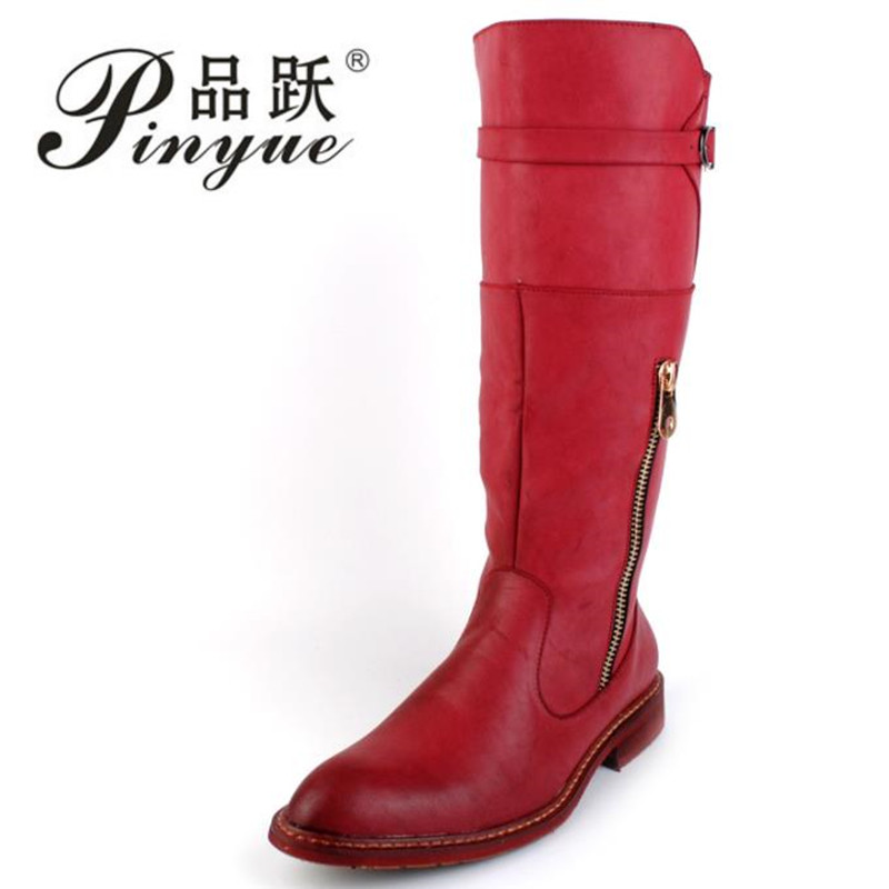 British Trend Red Knee High Boots Men Round Toe Cowboy Leather Martin Long Boots Man Riding