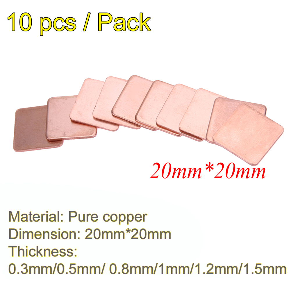 10pcs Thermal Pad Barrier Pure Copper Heatsink Shim Thermal Pads For Laptop GPU VAG PAD 20mmx20mm 0.3mm 0.5mm 0.8mm 1.0mm 1.2mm