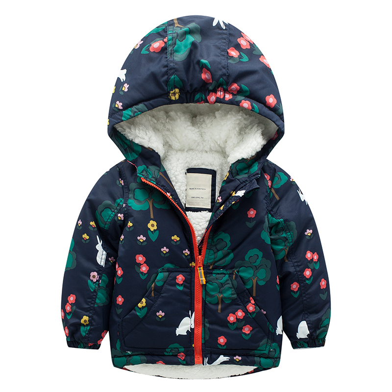 Thicken Winter Coats for Girls Kids Jackets Rabbit Printed Hooded Parkas Baby Girl Warm Outerwear cotton thick warm hoodies womens winter jackets lambs wool cotton padded jackets coats clothes female warm fashion thick parkas abrigos mujer tops c1672