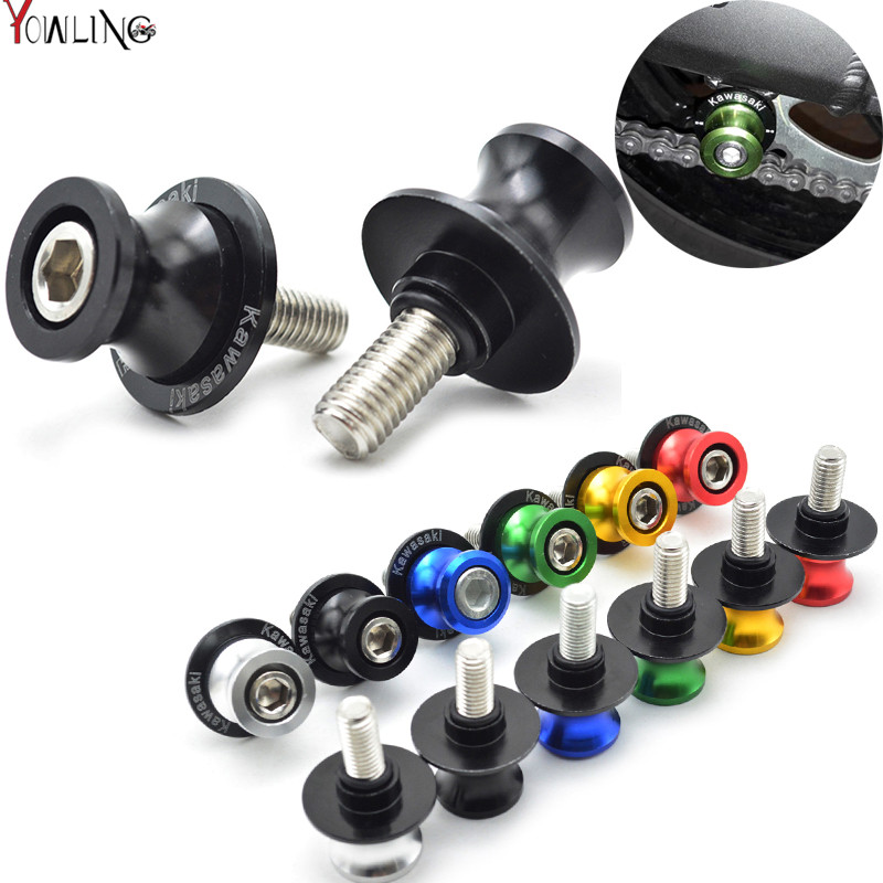 6/8/10MM Motorcycle CNC Swingarm Slider Spools stand screws For Kawasaki Z125 Z250 Z300 Z750 ZZR1200 EX250 ZX-14R Z1000 Z800 Z75 for kawasaki z800 z1000 zx 6r zx 10r kle 650 versys motorcycle accessories swingarm spools slider 8mm stand screws blue