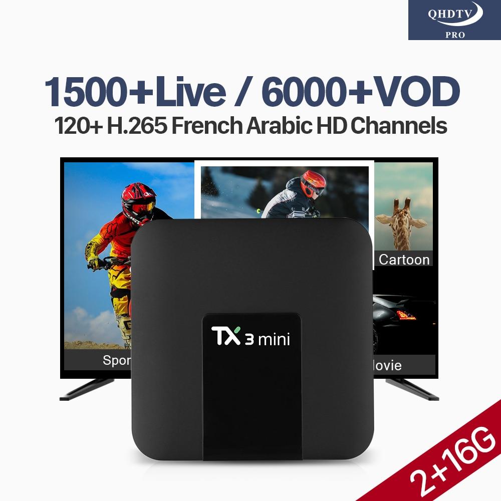 QHDTV Pro Box Android IPTV TX3 Mini TV Android 7.1 S905W 2G 16G 4k 2.4GHz WiFi H.265 Decoder Channels IPTV Arabic France Qatar все цены