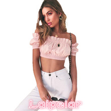 Sexy New Women Off The Shoulder Cropped Top Short Sleeves Frill Slash Neck Elastic Solid Casual Summer Shirts Blouse Female Tops contrast tie neck frill blouse