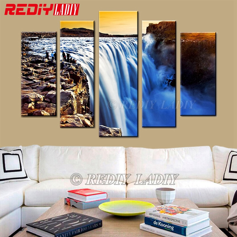 DIY Diamond Painting Triptych 5D Diamond Embroidery Waterfall Scenery 5 Panels Modular Picture Wall Art Rhinestones