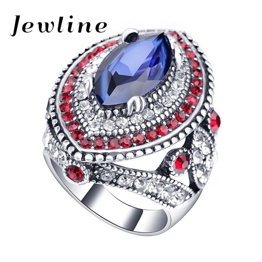 jewline 2017 vintage big wedding rings for women jewelry fashion silver mosaic green crystal rings - Big Wedding Ring