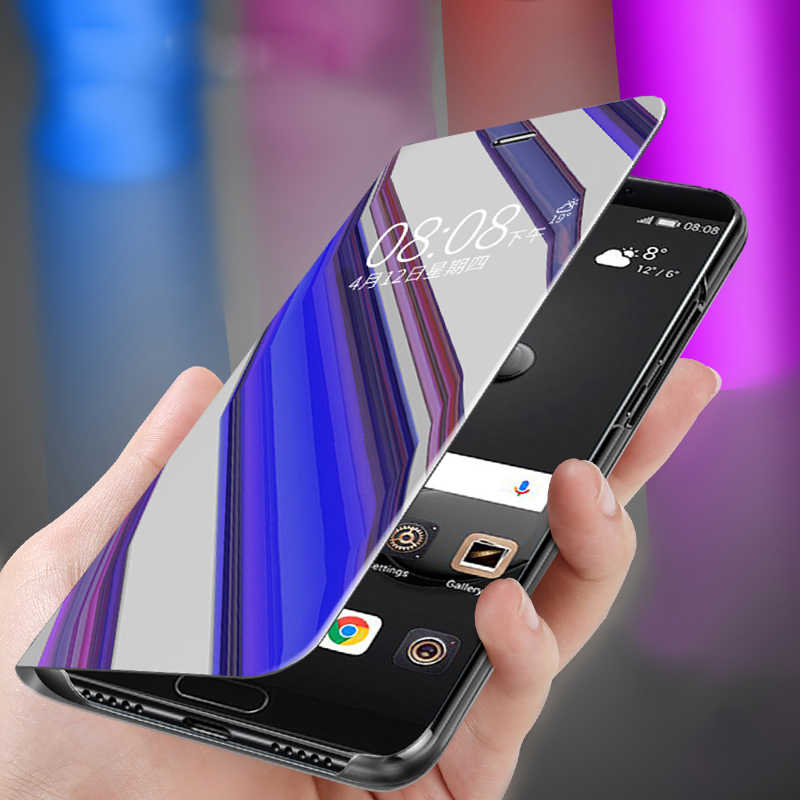 Smart Flip Cover For Samsung Galaxy J5 J7 2016 A50 S8 S9 Plus S6 S7 Edge Note 8 2017 A6 Plus 2018 Mirror Case Full Phone Case