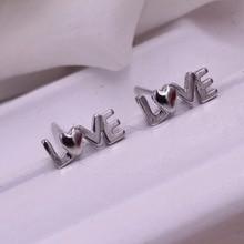 Free shipping jewelry earrings LOVE letters female silver earrings Simple love letter silver earrings Jewelry earring