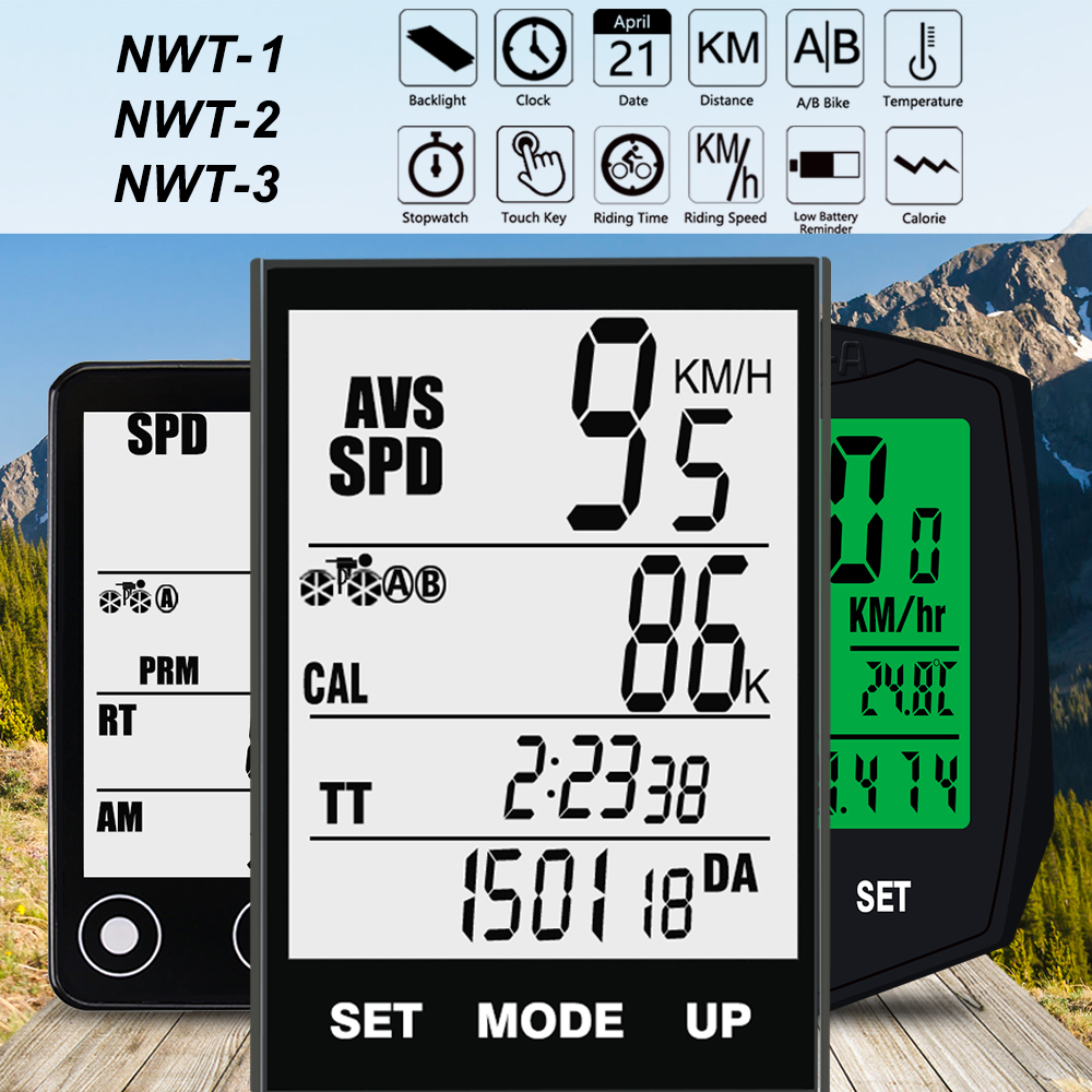 Nellvita Wireless Bike Cycling Computer Waterproof Bicycle Speedometer Odometer with Large LCD Display Wake up automatically wireless bicycle computer bike odometer speedometer lcd display 3 in 1 cycling computer with cadence heart rate monitor new