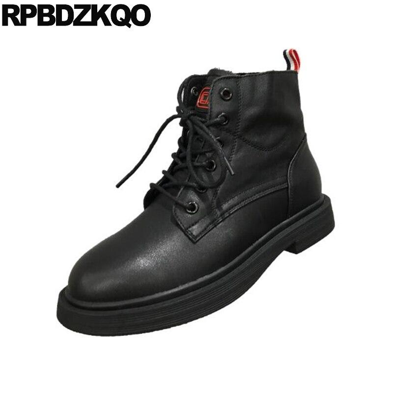 ce826a8d Las Botas Mujeres Beige Tobillo Cuero Combate Tacón Espana De Genuino  Zapatos Beige negro 2018 Otoño ...