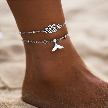 IF ME Bohemian Multilayers Anklets For Women Girl Vintage Silver Color Moon Sun Beach Pendant Ankle Bracelet on Leg Foot Jewelry 4
