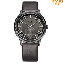 Brand EYKI 30M Waterproof Leather Casual Watch Free Two Needles Independent Seconds Dial Design relogio masculino