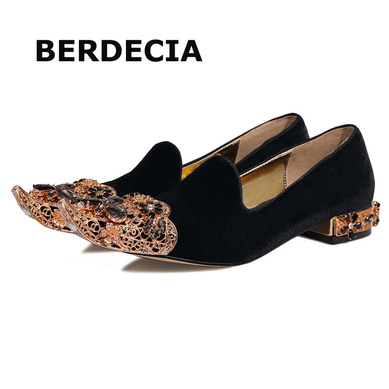 402089ddf48a LTTL Luxury Jewelled Flat Shoes Woman Gold Pointed Toe Flats Hollow Out  Velvet Shoes Genuine Leather Vintage Women Shoes-in Women s Flats from Shoes  on ...