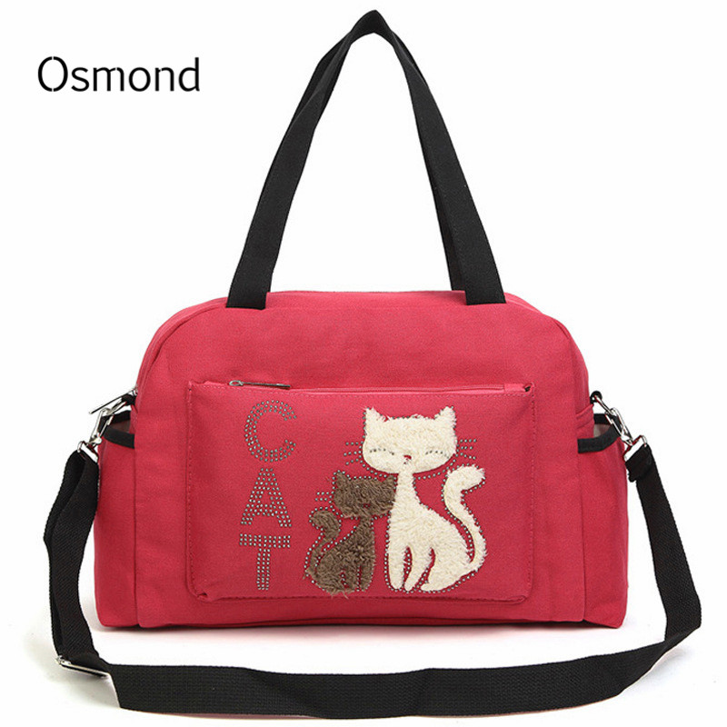 e78874f06 Detail Feedback Questions about Osmond Canvas Cat Handbags Female Messenger  Bag Women Travel Shoulder Bags Large Capacity Crossbody Bag Lady Totes  Casual ...