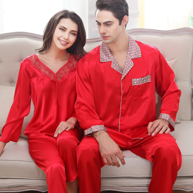 Summer red silk pajamas wedding sleepwear lovers wedding gift womens pajama set imitatio ...
