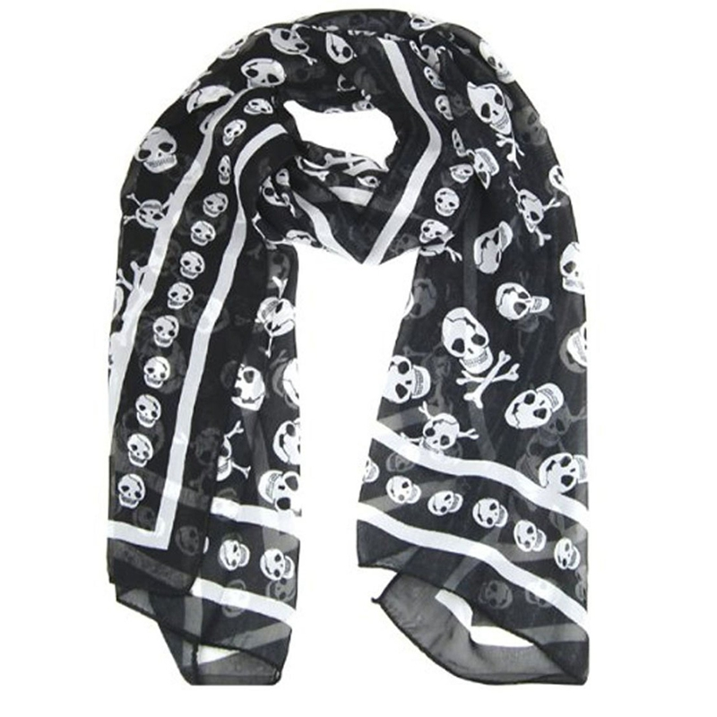 Black Chiffon Silk Feeling Skull Print Fashion Long Scarf Shawl Scaf Wrap For Women + Keyring