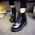 Inverno Mulheres outono Ankle Boots Moda Estilo coreano High Top Lace-up Sapatos 2016 Dr Martin Botas de Couro de Alta Top Sapatos