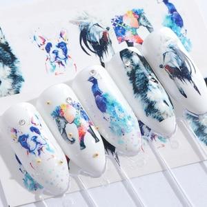 Image 5 - Набор слайдеров для дизайна ногтей, 15 шт., слайдер с рисунком фламинго, совы, цветов, животных, водные маникюрные наконечники, фольга, переводки для ногтей, CHSTZ659 673 1